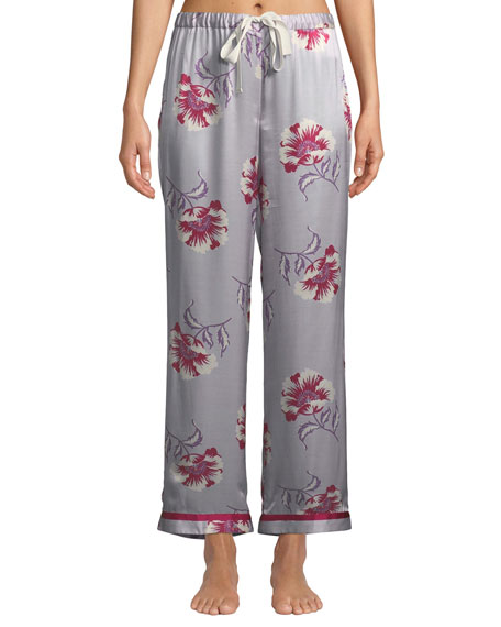 Morgan Lane ESMERALDA CHANTAL FLORAL SILK PAJAMA PANTS