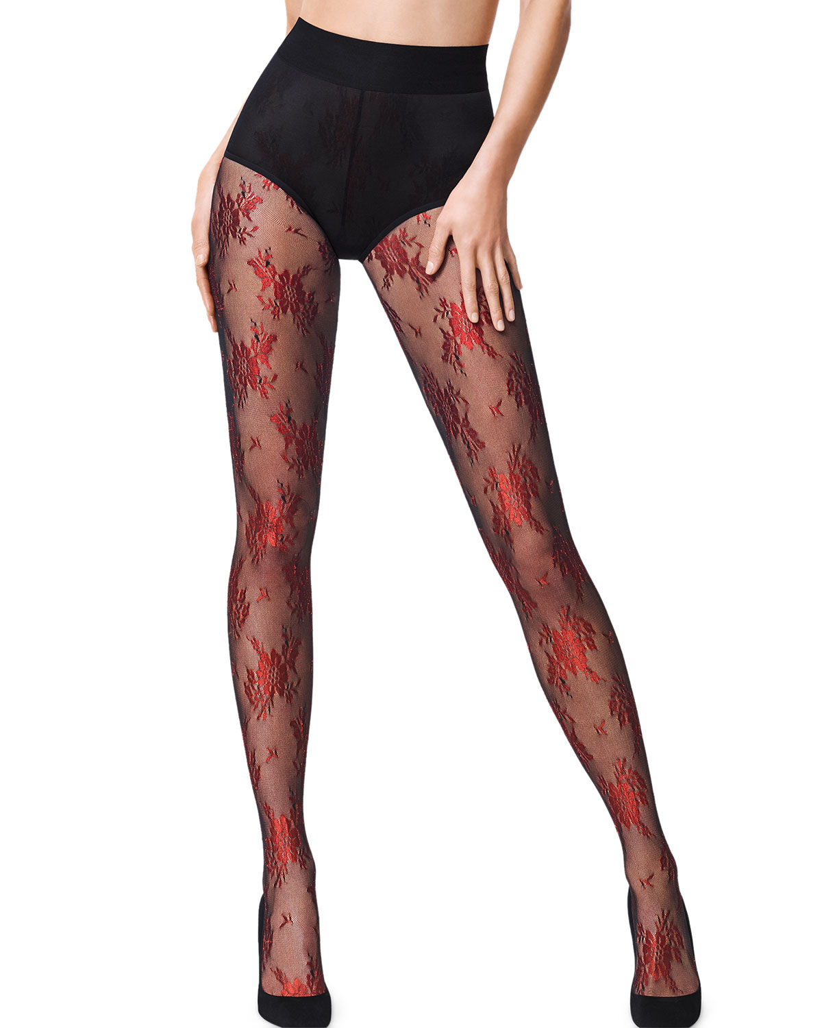 21334c114 Wolford Lea Metallic Floral-Pattern Tights