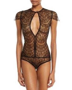 24a876f0b80 Kiki De Montparnasse Allover Cap-Sleeve Lace Bodysuit
