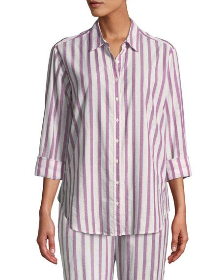 Xirena Beau Striped Cotton Lounge Shirt