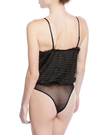 ASTR To The Beat Frayed Sleeveless Bodysuit