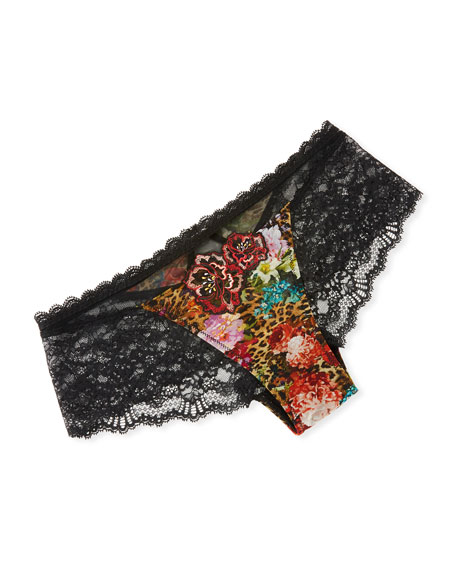 Floral & Animal-Print Lace-Back Boyshorts