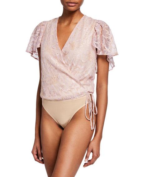 ASTR Prism Flutter-Sleeve Lace Bodysuit