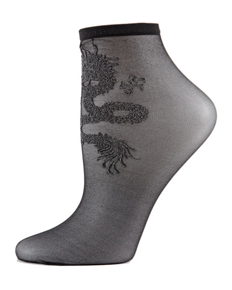 Natori Dragon-Embroidered Sheer Lace Ankle Socks