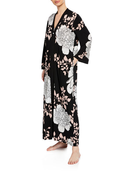 Diamond Tea Gown Floral-Print Easy-Fit Caftan