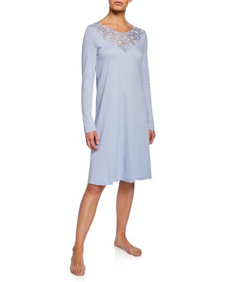 Hanro Aurelia Long-Sleeve Nightgown with 3D Floral Lace