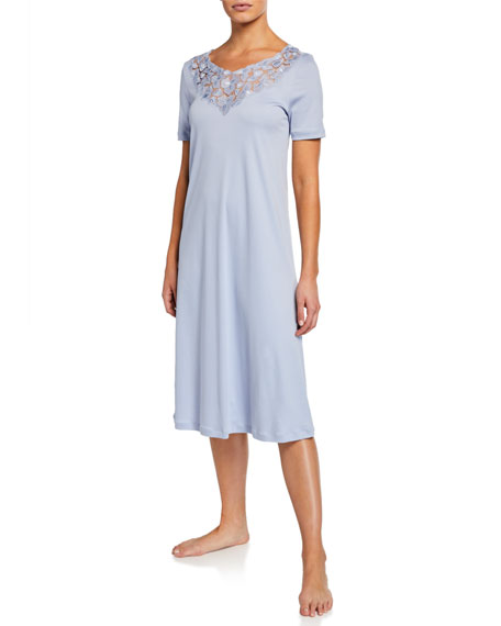 Hanro Aurelia Short-Sleeve Nightgown
