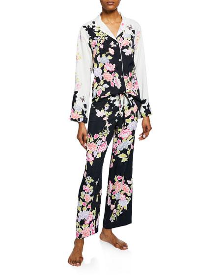 Natori Gardenia Floral-Print Satin Pajama Set