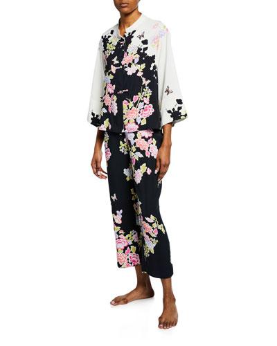 Gardenia Mandarin-Collar Pajama Set