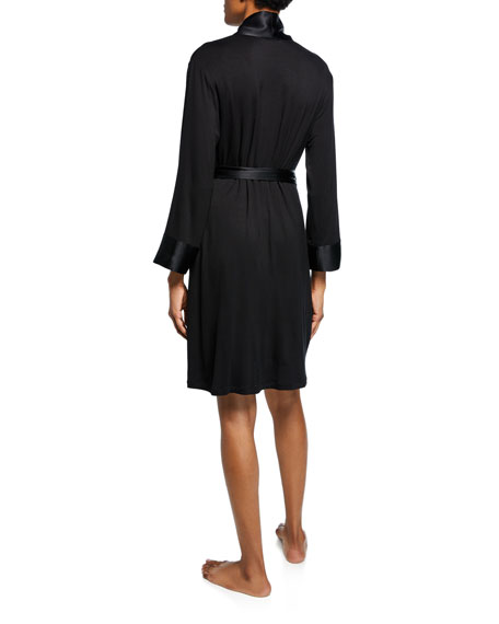 Josie Natori Essentials Jersey Robe w/ Satin Trim