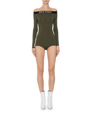 ee4df8bf Palm Angels Tape Off-Shoulder Logo Long-Sleeve Bodysuit
