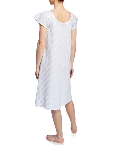 Celestine Daliah Short-Sleeve Celestine Satin Striped Short Nightgown