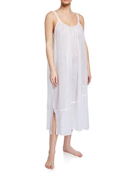 Celestine Saphira Sleeveless Scoop-Neck Long Cotton Nightgown