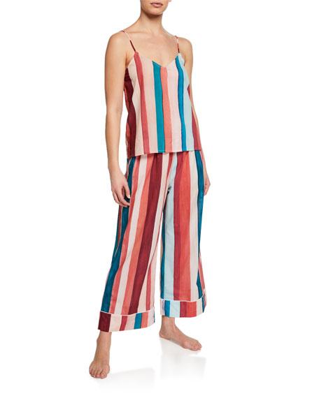 Desmond & Dempsey Striped Wide-Leg Lounge Pants