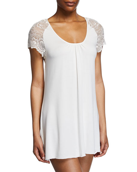 Samantha Chang Lace Cap-Sleeve Short Nightgown