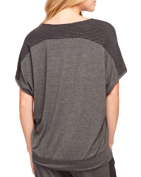 Fleur't Casual Perfection Stripe-Inset Cocoon Top
