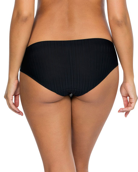 Parfait Aline Ribbed Bikini Briefs, Black