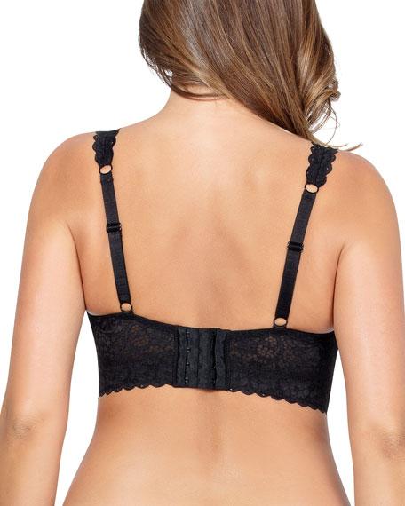 Parfait Adrianna Full-Figure Floral Lace Bralette, Black
