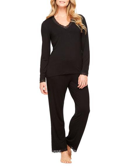 Fleur't Lace-Trim Long-Sleeve Pajama Set