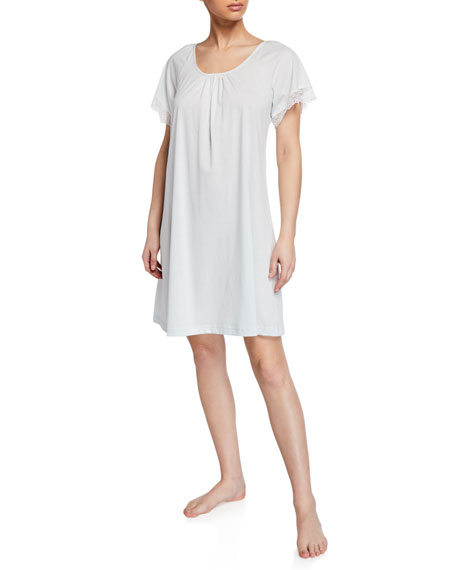P Jamas Pretty Lace Short-Sleeve Nightgown