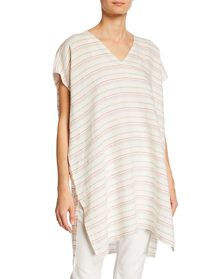 Eileen Fisher Striped Organic Linen Caftan