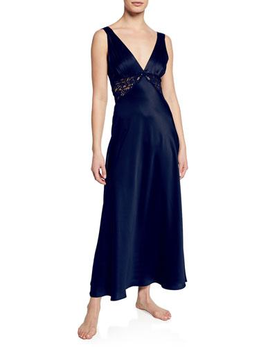 Bijoux Lace-Inset Silk Gown