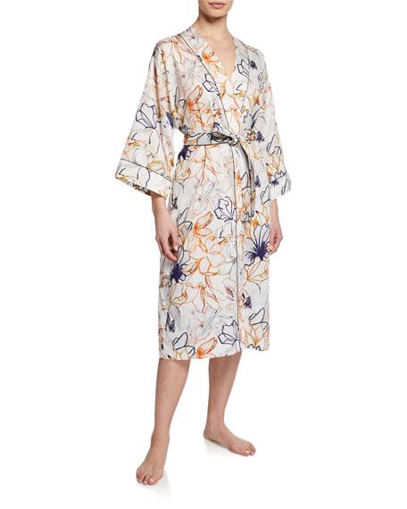 Zimmerli Floral-Print Long Cotton Robe