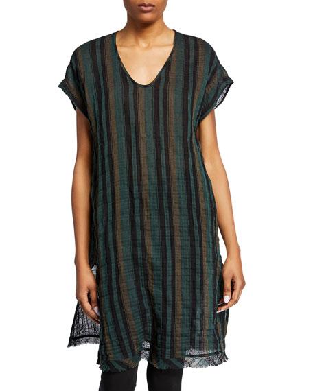 Eileen Fisher Striped Short-Sleeve Cotton Gauze Caftan