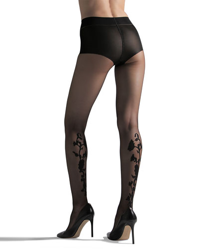Marilyn Floral-Detail Sheer Tights