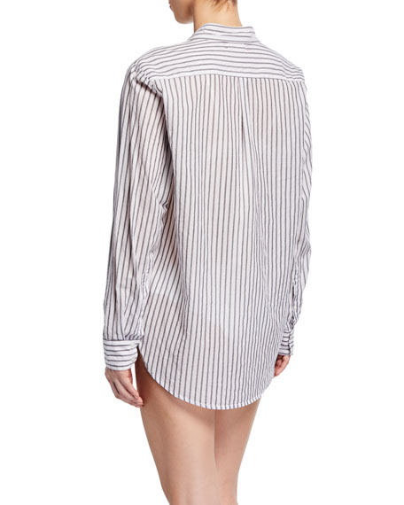 Xirena Beau Long-Sleeve Striped Lounge Shirt