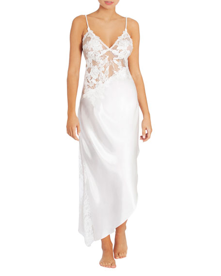 Jonquil Dalia Lace-Trim Long Nightgown