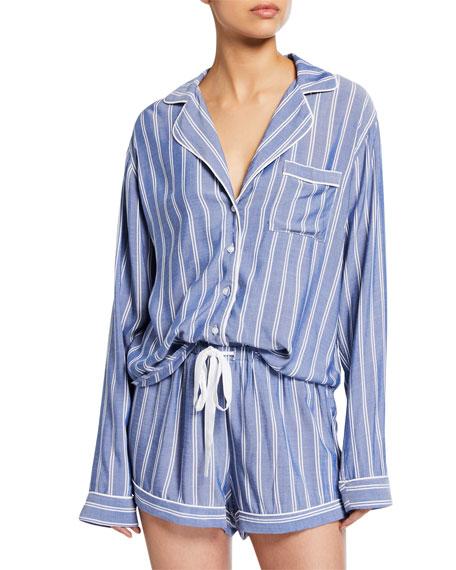 Rails Striped Long-Sleeve Shortie Pajama Set