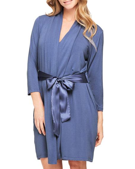 Fleur't Take Me Away Short Jersey Robe w/ Silk Ties, Blue Serenity