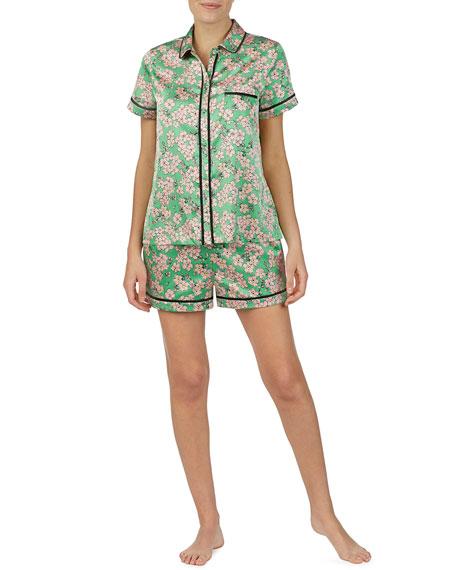 kate spade new york floral-print charmeuse shortie pajama set