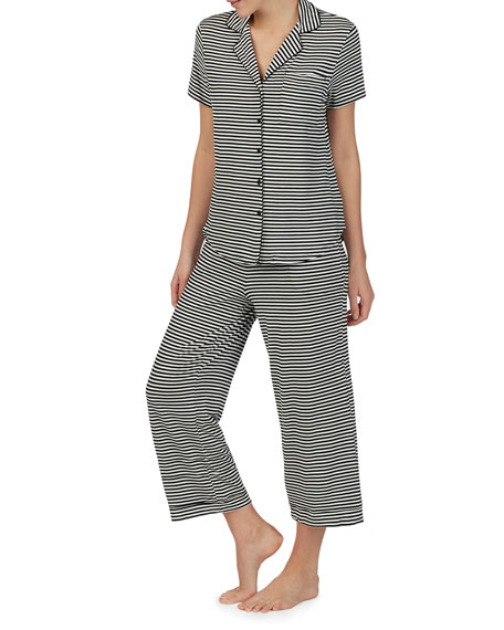 kate spade new york striped crop pajama set