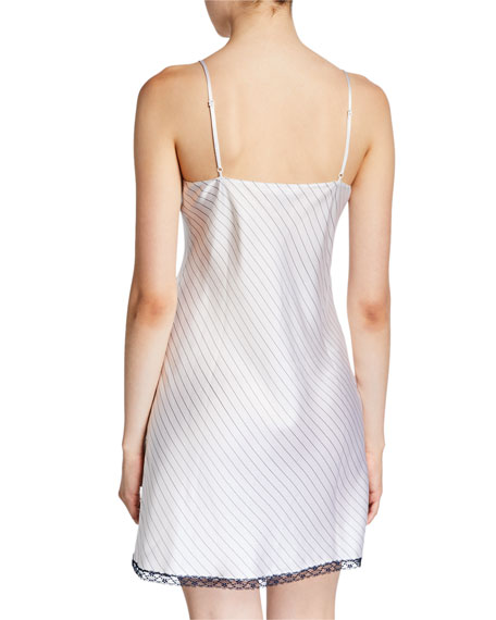 Image 2 of 2: Neiman Marcus Striped Lace-Trim Chemise