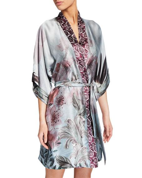 Christine Lingerie Solitude Floral-Print Silk Short Robe