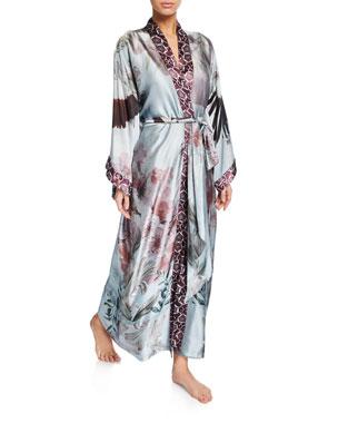 b6f00a29f1aa2 Christine Lingerie Solitude Floral-Print Silk Long Robe