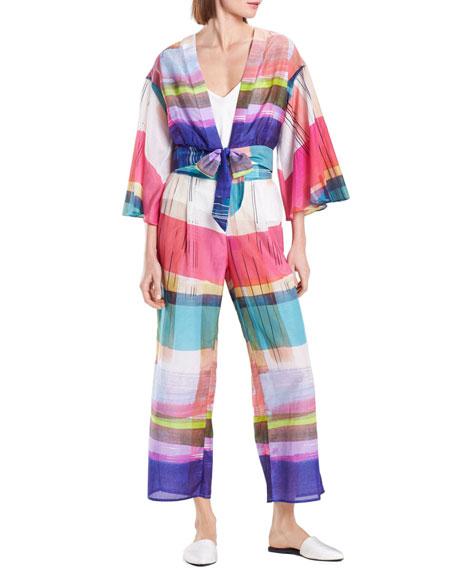 Josie Natori Brushstroke Plaid Silk-Blend Lounge Pants