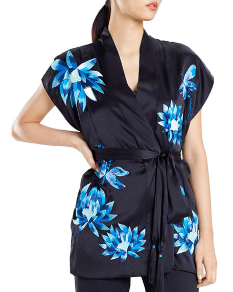 Josie Natori Lotus Floral-Embroidered Silk Robe