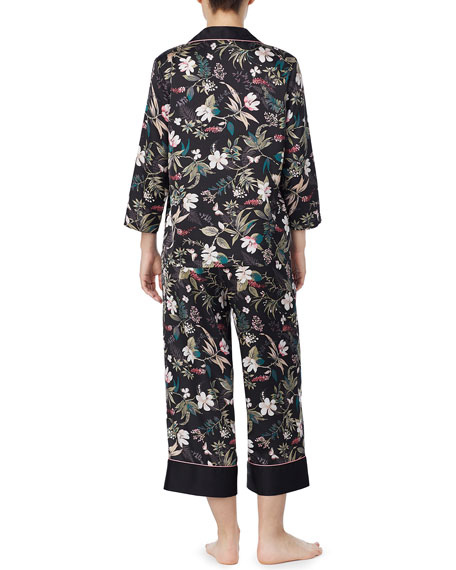 kate spade new york floral-print charmeuse cropped pajama set