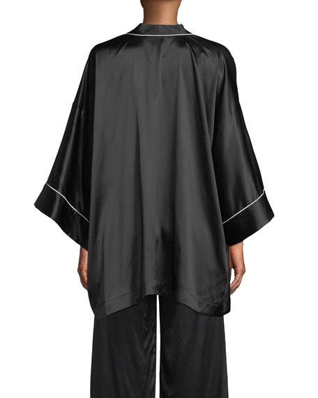 Neiman Marcus Contrast-Piped Silk Kimono Robe
