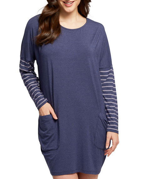 Fleur't Dolman Striped-Sleeve Nightshirt