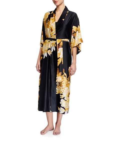 Natori Opulent Floral-Print Satin Robe