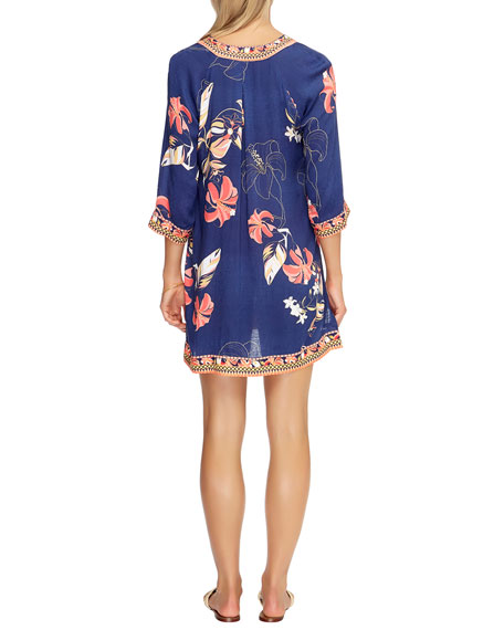 Image 3 of 3: Floral-Print 3/4-Sleeve Coverup Kaftan