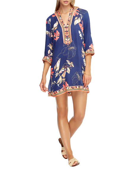 Image 1 of 3: Floral-Print 3/4-Sleeve Coverup Kaftan