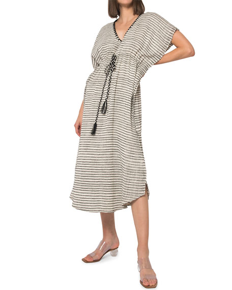 Jaline CAMILA STRIPED HAND-WOVEN CAFTAN