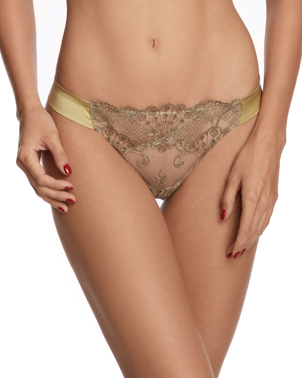 I.D. Sarrieri Rosam Embroidered Tulle Thong