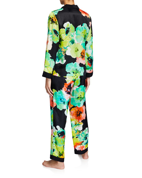 Image 3 of 3: Josie Natori Ophelia Watercolor Printed Classic Pajama Set
