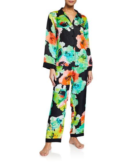 Image 1 of 3: Josie Natori Ophelia Watercolor Printed Classic Pajama Set